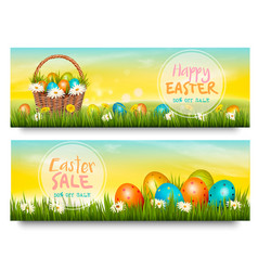 Two easter sale banners colorful eggs in green vector