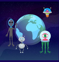 ufo game cartoon aliens with earth planet globe vector image