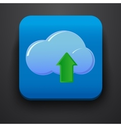 Upload symbol icon on blue vector image