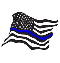 Waving usa police blue line flag vector