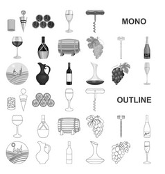 Wine products monochrom icons in set collection vector