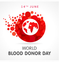 World blood donor day red drop map banner vector