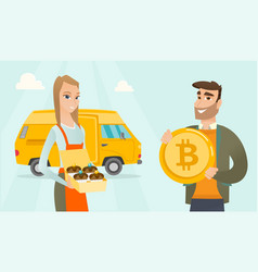 young caucasian baker offering payment by bitcoin vector image