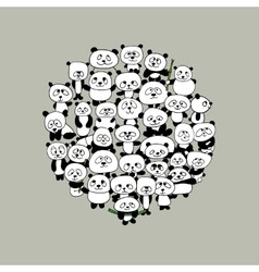 Funny panda family frame for your design vector image