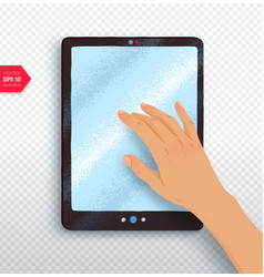 hand with tablet vector image