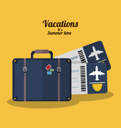 Vacations summer time - suitcase tickets airline vector