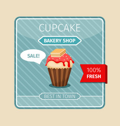 cute card red cupcake with wafer vector image
