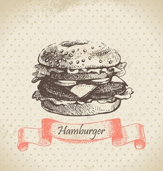 Hamburger hand drawn background vector image vector image