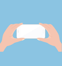 mobile phone in hands on white vector image