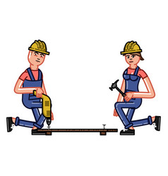 builder works with a drill vector image vector image