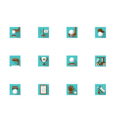 golf elements square blue icons set vector image