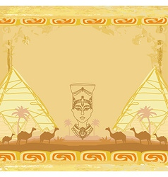 grunge background with Egyptian queen vector image vector image
