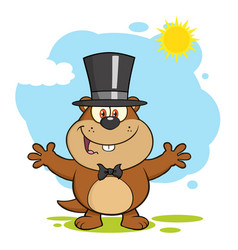 marmot cartoon character with open arms vector image