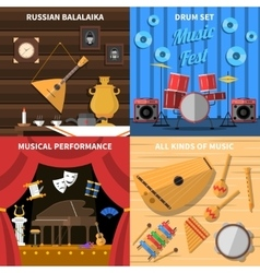 Musical Instruments Concept Icons Set vector image vector image