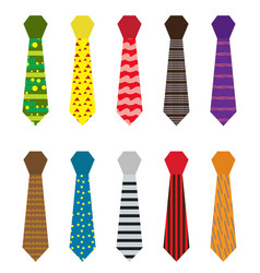 set of multicolored ties with different patterns vector image