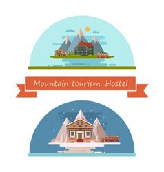 set of tourist hostels vector image vector image