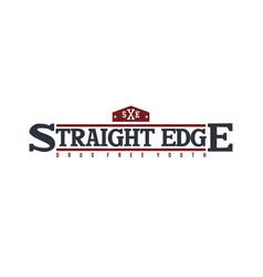 Straight edge badge label community campaign vector