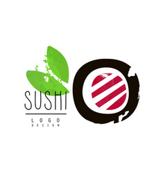 sushi logo design badge for restaurants of vector image vector image