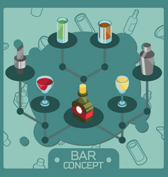 bar color isometric concept icons vector image vector image