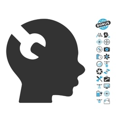 Brain Wrench Tool Icon With Copter Tools Bonus vector image vector image