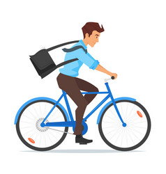 Businessman riding on the bike vector