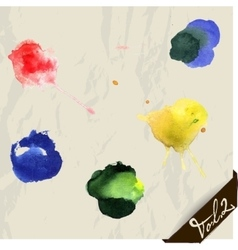 Hand drawn watercolor splashes set vector image vector image