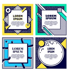 set of cool memphis style cards vector image