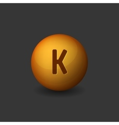 Vitamin K Orange Glossy Sphere Icon on Dark vector image