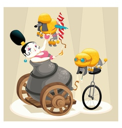 Woman with cannon and dachshunds in the circus vector image