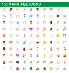 100 marriage icons set cartoon style vector image