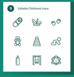 9 childhood icons vector image