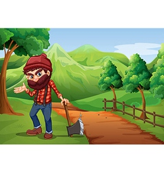 A woodman holding an axe at the pathway near vector