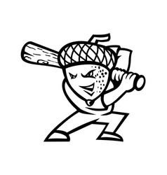 Acorn or oak nut baseball player batting mascot vector
