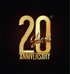 anniversary golden sign 20 years vector image