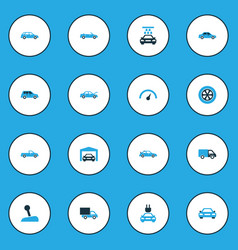 Auto colorful icons set collection of sedan vector