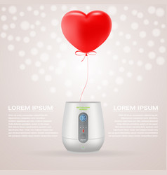 baby bottle warmer with red baloon in shape of vector image