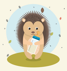 Baby shower card with cute porcupine vector