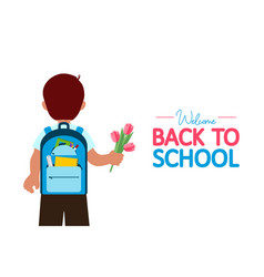 Back to school banner boy with backpack with vector