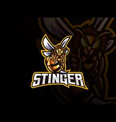 Bee mascot sport logo design vector