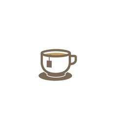 big hot cup tea or cafe warm coffee logo design vector image