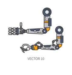 Bionic robot arm prosthesis line icon set bionic vector