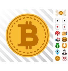 Bitcoin coin icon with bonus vector