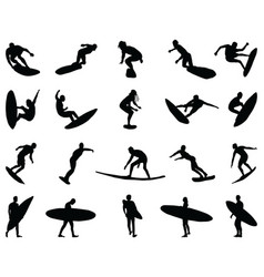 black silhouettes surfers vector image