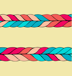 braid hair pattern on yellow background vector image