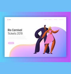 brazil carnival rumba couple dancer landing page vector image