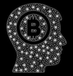 Bright mesh carcass bitcoin thinking head with vector