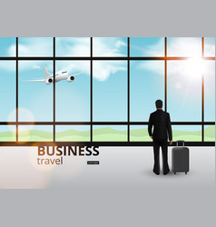 businessman on plain in window travel concept vector image