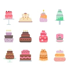 Cake collection icons vector