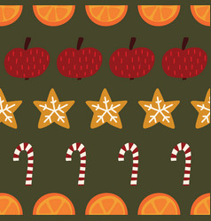 candy canes cookies oranges apples seamless vector image