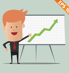 Cartoon business man present information vector